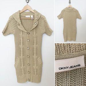 DKNY Beige Knit Tunic Button Down Sweater - SZ SM